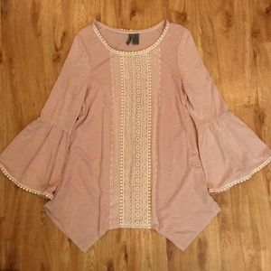 bell-sleeve pink & white lace top